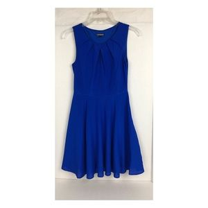 Express Cobalt Sleeveless Dress Gathered Collar